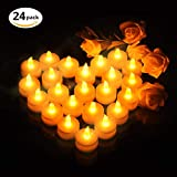 24pcs LED Candle Lights, OMorc Battery-powered Flameless LED Tealight Flickering Warm Yellow