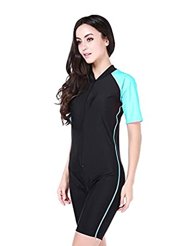 TOGETHER FOREVER Girls & ladies Modesty Swimming suit, UPF 50+ Short sleeve swimwear for Summer holiday (Large, Black