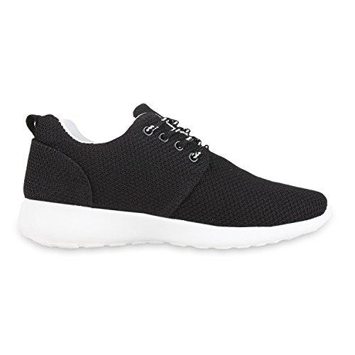 Flache Unisex Damen Herren Laufschuhe Profilsohle Sportschuhe Schnüren Sneakers Freizeitschuhe Schwarz Bianco