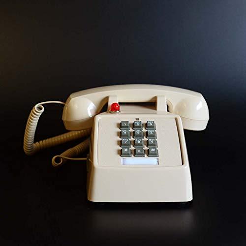 Qdid Schnurgebundenes Telefon 70er Jahre Inspiriert Festnetz-Drucktaster mit klassischer Glocke (Farbe : Beige)