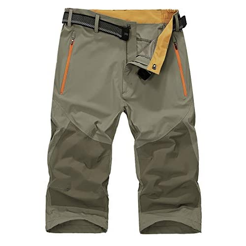 41hItGYncxL. SS500  - Mr.Stream Men's Water Resistan Classic Bermuda Beach Quick Drying Cargo Shorts 3/4 Capris Walking Casual Cropped Trousers