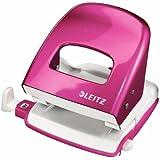 Leitz 50081023 Locher (30 Blatt, Anschlagschiene mit Formatvorgaben, Metall, Wow) pink metallic