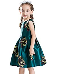 Buenos Ninos Little Girl's Flower Printed Sleeveless Princess Party Dress Casual Clothes Outfits for 3-8 Years