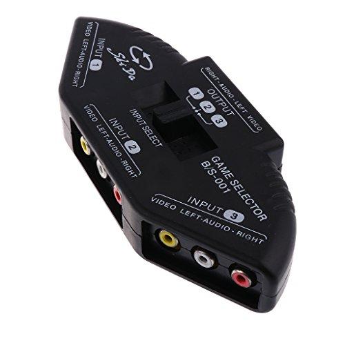 Homyl 3 Wege Video Audio Chinch Cinch Schalthebel Umschalter Video Adapter mit RCA Kabel (Male zu Male)- Schwarz - Rca-schalter