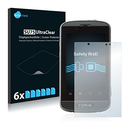 6x Savvies SU75 UltraClear Bildschirmschutz Schutzfolie für Cyrus CS 18 (ultraklar, mühelosanzubringen)
