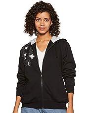 WOKNIT Printed Full Sleeves Womens Hooded Black Sweatshirt