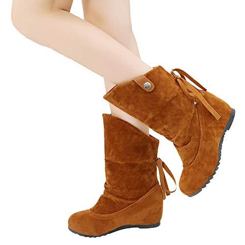 TianWlio Boots Stiefel Schuhe Stiefeletten Frauen Herbst Winter PU Leder Winter Warme Schneestiefel Mädchen Boots Flach Gefütterte Schlupf Stiefel Unisex Damen Herren Stiefeletten Worker Boots