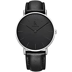Alienwork IK Quartz Watch elegant Wristwatch stylish Timeless design classic Leather black black 98469L-01