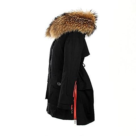 Damen PARKA XXL Kragen aus 100% ECHTPELZ ECHTFELL Jacke Mantel Khaki Schwarz Gr. XS-XL (M / 36, Black Red