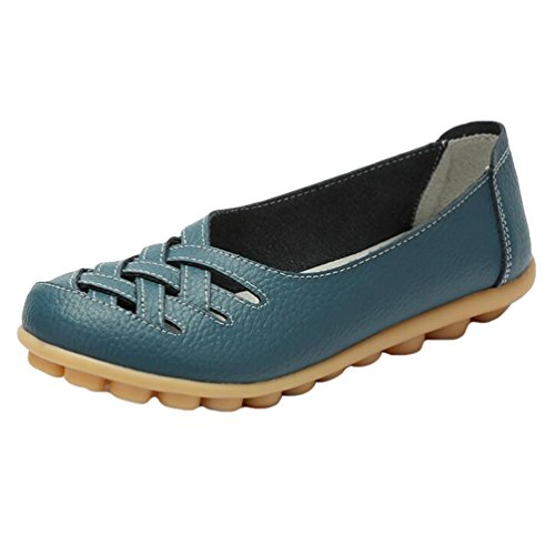 Heheja donna piatto scarpe cavo tacco basso sandali slip on mocassini chiaro blu asia 40 (25cm)