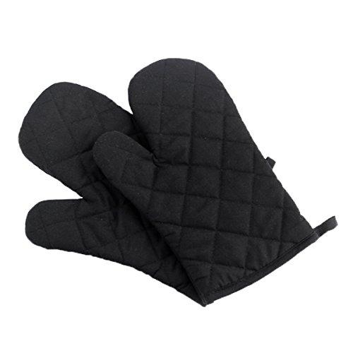Panegy Hitzebeständig Ofenhandschuhe Verdickte Hitzeresistente Topfhandschuhe Topflappen Backhandschuhe, Baumwolle, 1 Paar Schwarz