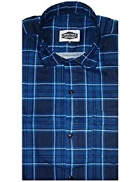 IndoPrimo Men's Checked Formal Slim Fit Casual Shirt Full Sleeves