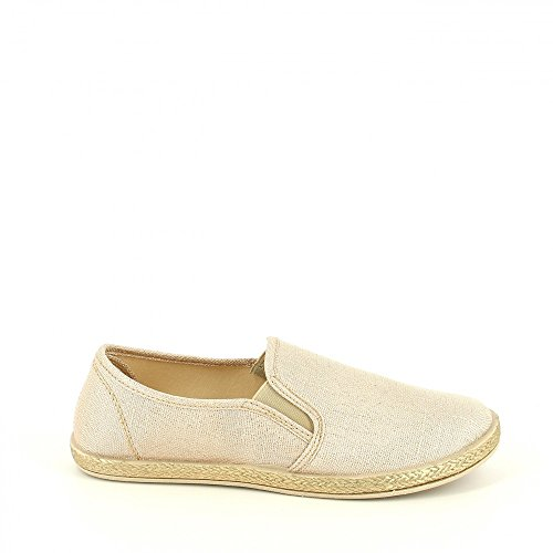 Ideal Shoes-Slip-on con lustrini, in tela Kaelle Oro (Oro)