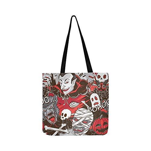Halloween Horror Monster Leinwand Tote Handtasche Umhängetasche Crossbody Taschen Geldbörsen Für Männer Und Frauen Einkaufstasche