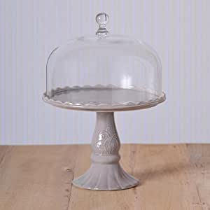 Virginia Casa Linea Volute Présentoir à gâteau gris avec cloche en verre, Ø 28.0 cm