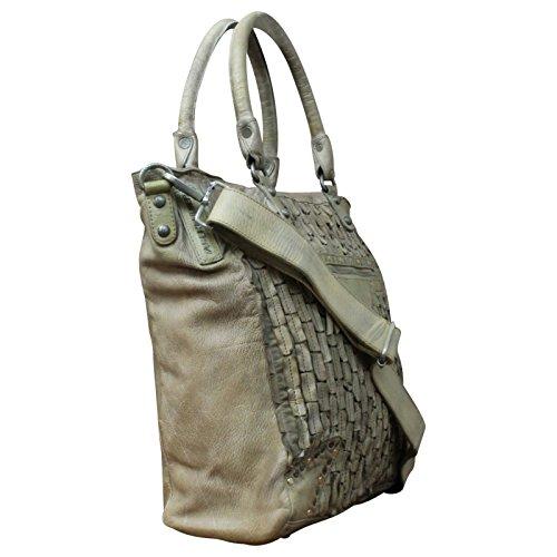 Taschendieb Wien echt Leder Vintage Shopper Schulter Tasche Leder Vintage NEW, Farbe:Offwhite Offwhite