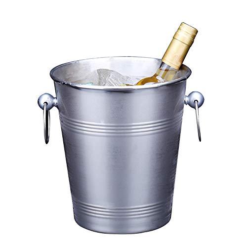IC&EO Edelstahl Eiseimer, 100% Metal Getränke Eimer Wanne Wein Kühler Eiswürfelbehälter Küche Storage Party Supplies Zubehör-Silber 20x23cm(8x9inch)