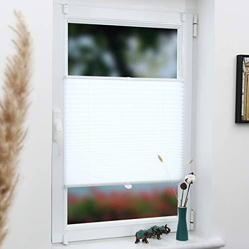 Grandekor Plissee Klemmfix Faltrollo ohne Bohren 75x100cm (BxH) Weiß, Kinderleichte Montage, Jalousie Plisseerollo Sichtschutz und Sonnenschutz für Fenster & Tür