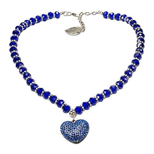 Alpenflüstern Perlen-Trachtenkette Glitzerzauber Trachten-Herz - Damen-Trachtenschmuck Strassherz Dirndlkette blau DHK145