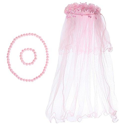 kilofly mariage filles perles voile floral Couronne de cheveux Ensemble collier + bracelet