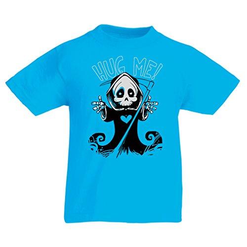 Kinder T-Shirt Der Tod kommt! Halloween Skelett Kleidung, böse Schädel Sichel (7-8 years Hellblau Mehrfarben)