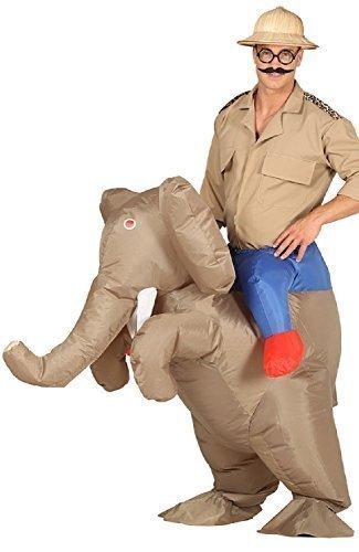 lasbar Huckepack Darauf Reiten Elefant Safari Hunter Explorer Neuheit Lustige Junggesellenabschied Halloween Kostüm (Safari Kostüm Halloween)