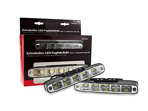 Lescars 5 Watt LED Tagfahrlicht Weiß 6000K abgeschrägt inkl. Relais E-Prüfzeichen -