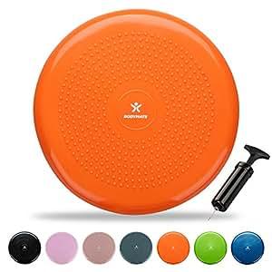 BODYMATE Coussin d'équilibre Ø34cm + Pompe - Coussin Gonflable pour Core Training, Fitness, rééducation - Orange
