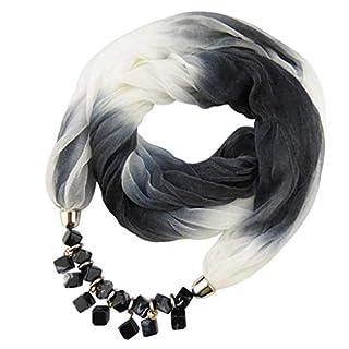 VEMOW Heißer Verkauf Elegante Damen Anhänger Schal Mit Chiffon Strass Schmuck Schals Schritt für Schritt Farbigen Stolen(E, 60cm-80cm)