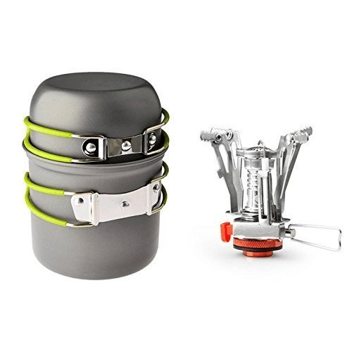 Camping Stove+Pot Pan,Sanmersen Portable Outdoor Backpacking Cookware Hiking Cooking Stove Butane Propane Burner for Gas Canister With Piezo Ignition
