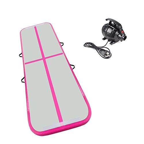 Cotogo 3x1x0.1M / 3x0.9x0.1M Aufblasbare Airtrack Tumbling Gymnastic / Yoga / Taekwondo / schwimmende / Camping Trainingsmatte mit 550 Watt Elektrische Pumpe (ausgezeichnete geschenk für tochter) (Rosa, 3x0.9x0.1M)