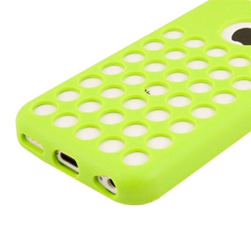 kwmobile Hülle für Apple iPhone 5C - TPU Silikon Backcover Case Handy Schutzhülle - Cover klar Polka Design Weiß Gelb Polka Weiß Grün