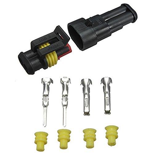 Wasserdichtes 2-poliges Steckerset für Kfz-Kabelstecker mit elektrischen Steckern -