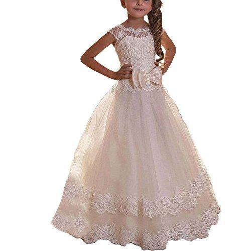 KekeHouse Prinzessin Spitze Elfenbein Blumenmädchenkleider Tüll Brautjungfern Mädchen Festkleid...