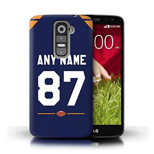 eSwish Personalisiert Individuell Amerikanischer Fußball Jersey 2 Hülle für LG G2 Mini/D620 / Dunkelblau/Orange Design/Initiale/Name/Text Schutzhülle/Case/Etui Mini-team-jersey
