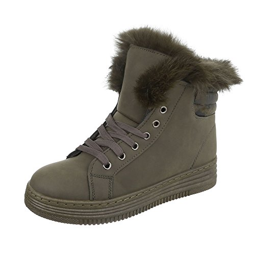 Ital-Design Klassische Stiefeletten Damen-Schuhe Schlupfstiefel Warm Gefütterte Schnürsenkel Stiefeletten Khaki, Gr 38, R-313-