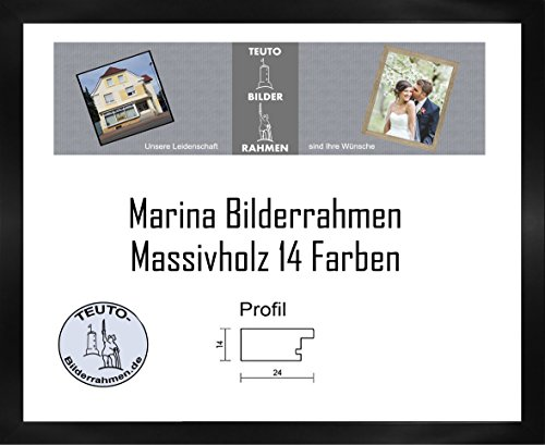 Cadre 'Marina' en bois naturel 80 x 110 cm En bois massif simple et élégant 110x80 cm Avec verre acrylique anti-réflexe en 14 couleurs différentes, ici: noir
