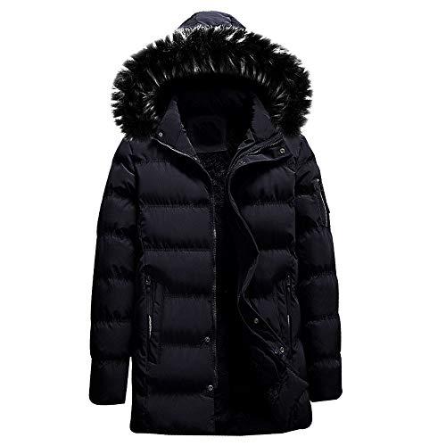 Amphia - Mode Herren Abnehmbare Hut einfarbig Reißverschluss langärmelige Baumwollmantel Daunenjacke - Männer Herbst Winter Pure Farbe Pocket Hut Zipper Jacket Coat(Schwarz,M)