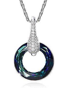 CEINTER Halskette mit Kristallen von Swarovski 925 Sterling Silber Kette Damen Glücklich 45cm