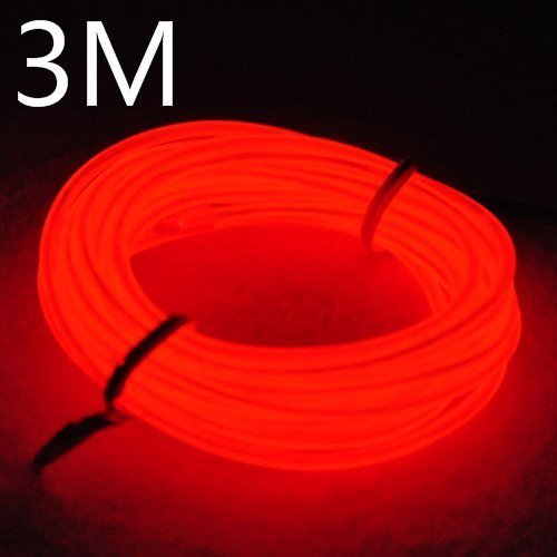 EFK 3M EL Wire EL Kabel Neon Beleuchtung leuchtschnur für Weihnachtsfeiern Rave Partys Halloween Kostüm +Batterie Box (3M, (Weniger Halloween Kostüme Für)