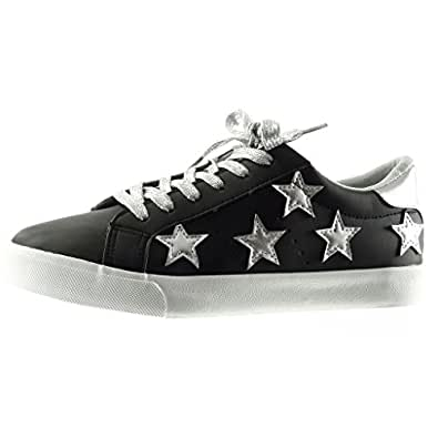 Angkorly - damen Schuhe Sneaker - Stern - bestickt flache Ferse 2.5 CM - Schwarz PQ-5 T 36