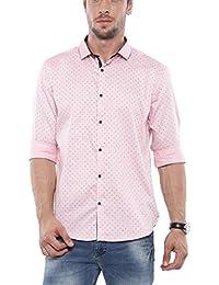 SHOWOFF Mens Pink Printed Casual Shirts