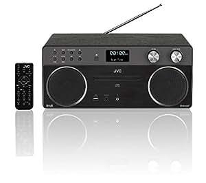 JVC Wireless Flat Panel Hi-Fi System with DAB+/DAB/FM Radio - (Black) - Bluetooth, CD player, USB input, DAB/FM