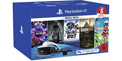 Playstation VR Mega Pack 2, VR-Brille INKL. Camera + VR Worlds + Skyrim VR + Astro BOT + Resident Evil 7 + Everybody's Golf VR, CUH-ZVR2