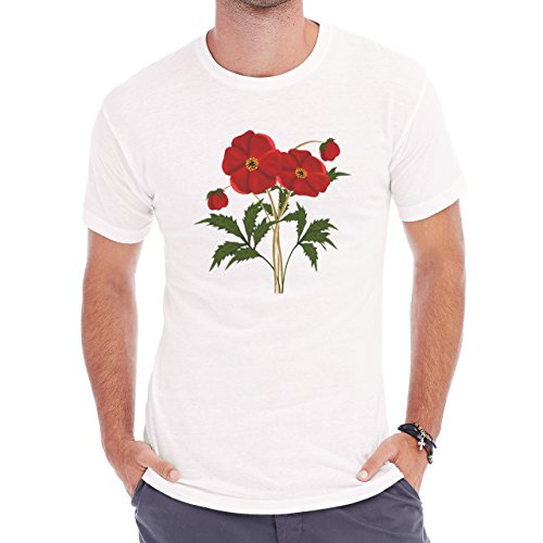 Flowers Nature Blossom Plant Red Herren T-Shirt Weiß