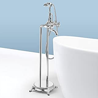 AKDY 8713 Contemporary Freestanding Floor Mount Bath Tub Filler Faucet Spout Single Handle with Handheld Shower Head, Polished Chrome by AKDY