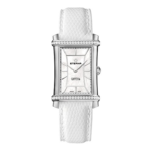 Eterna Women's Quartz Watch with Mother of Pearl Dial Analogue Display and White Leather Strap 2410.48.66.1200