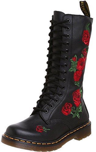 Dr Martens Vonda Black Red 14 eyelets Leather Womens Boots -6