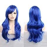 Perücke 70cm langes lockiges Haar Universal Anime Cosplay Perücke Haar-Set Schönheit hitzebeständige Perücke (Farbe : Blau)
