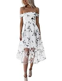 Ansenesna Kleid Damen Sommer Knielang 3 4 Lang Blumen Elegant Maxi Abendkleid  Off Shoulder… f096b4f71c